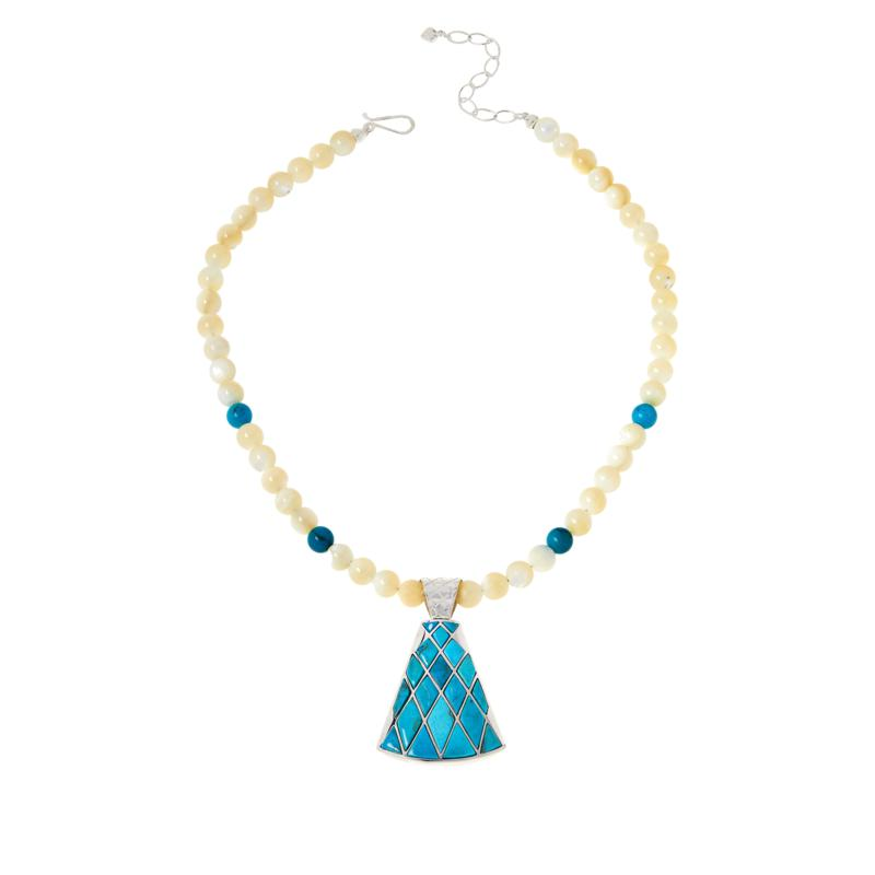 Jay King Gallery Collection Red Skin Turquoise Inlay Pendant-Necklace