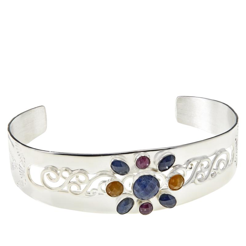 Jay King Gallery Collection Sterling Silver Multi-Color Sapphire Cuff