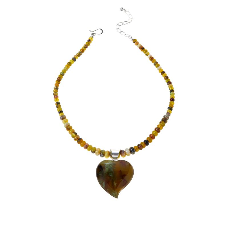 Jay King Green Goddess Opal Heart Pendant with Bead Necklace