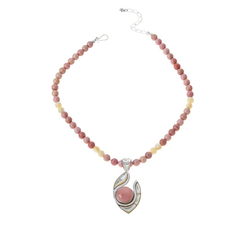 Jay King Pink Opal and Mother-of-Pearl Pendant with Necklace