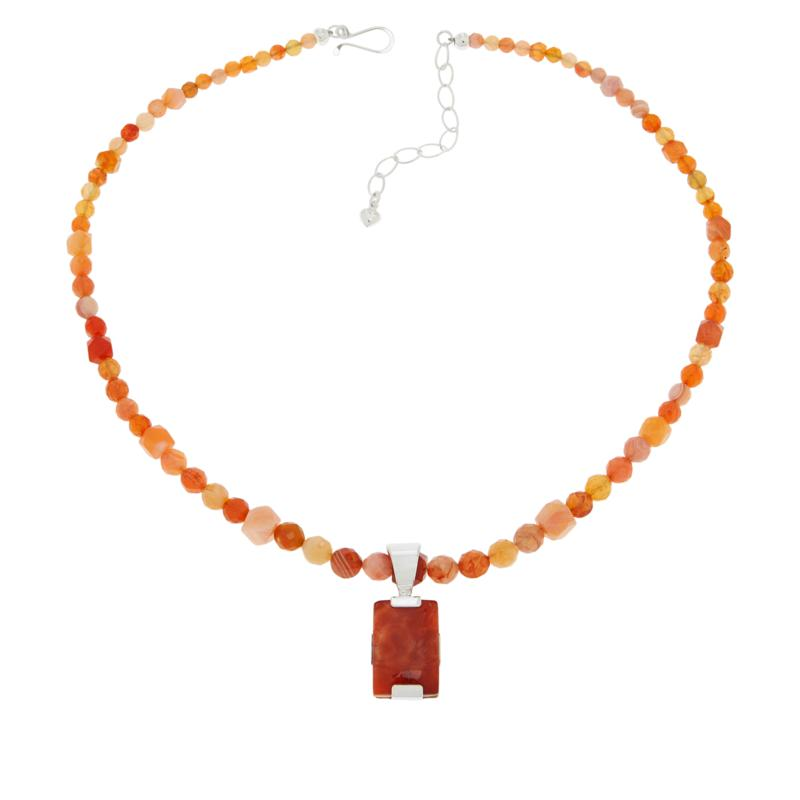 Jay King Rectangular Red Chalcedony Pendant with Necklace