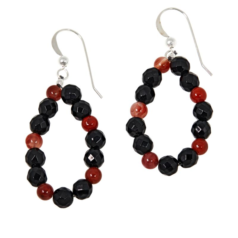 Jay King Red Agate and Black Chalcedony Bead Drop Earrings