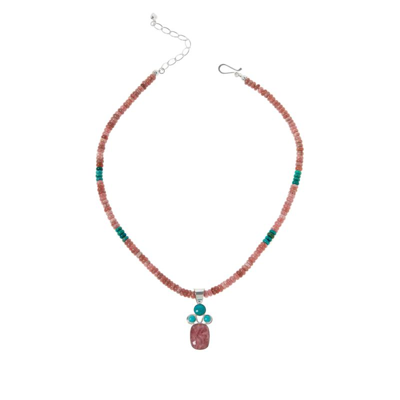Jay King Rhodochrosite and Turquoise Pendant with Necklace