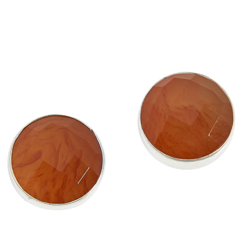 Jay King Sterling Silver 10mm Round Red Chalcedony Stud Earrings