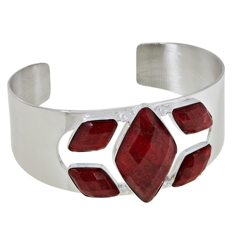 Jay King Sterling Silver Abstract Red Coral Cuff Bracelet
