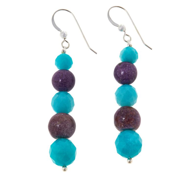 Jay King Sterling Silver Amazonite and Charoite Bead Drop Earrings