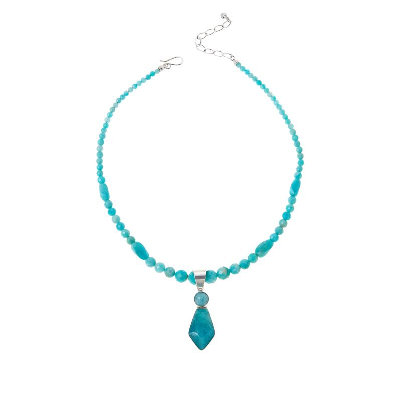 Jay King Sterling Silver Amazonite Pendant with Bead Necklace