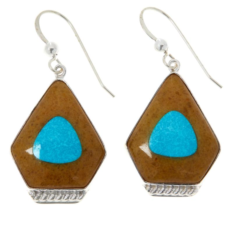 Jay King Sterling Silver Amber and Turquoise Earrings