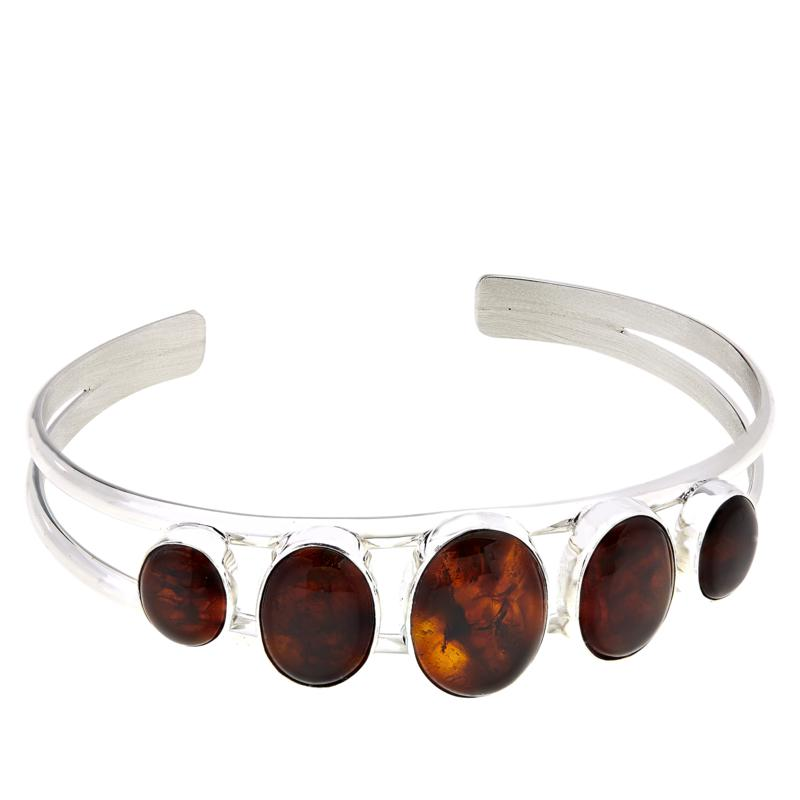 Jay King Sterling Silver Amber Oval Stone Cuff
