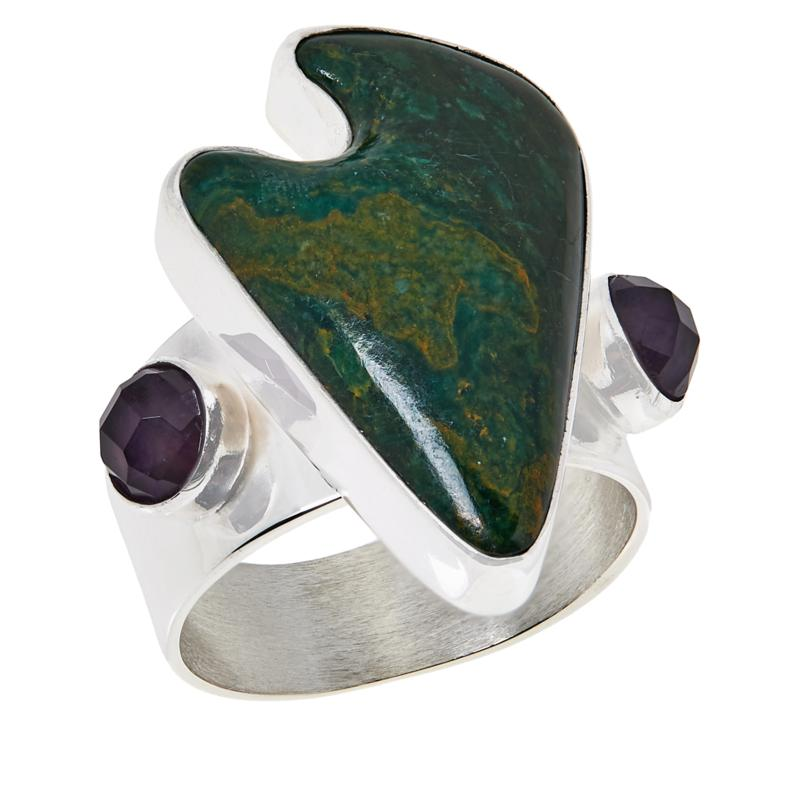 Jay King Sterling Silver Amethyst and Green Verdite Ring