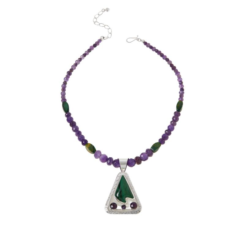 Jay King Sterling Silver Amethyst and Verdite Pendant with Necklace