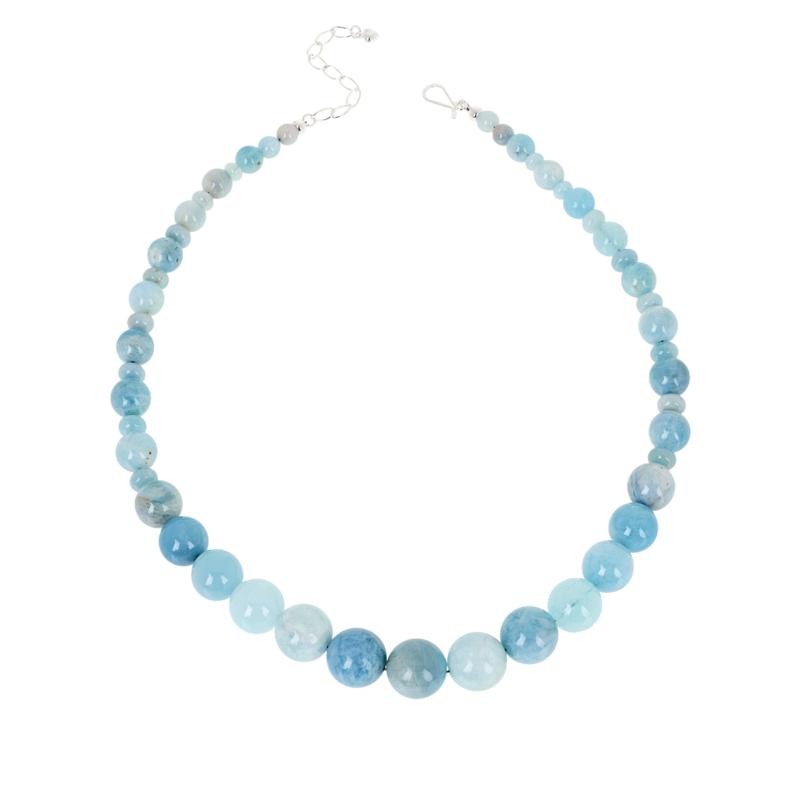 Jay King Sterling Silver Aquamarine Bead Necklace