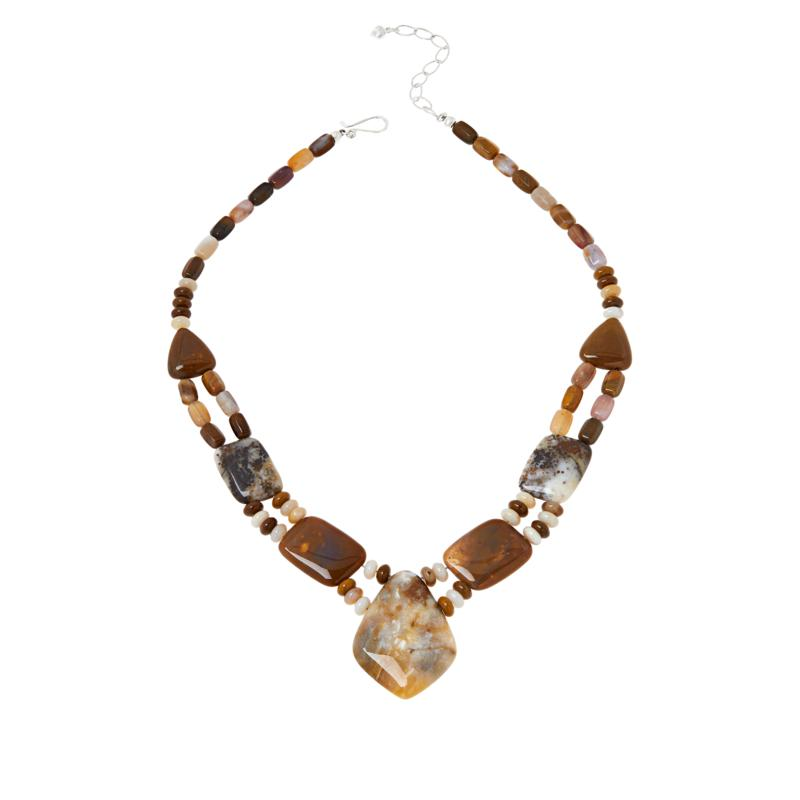 Jay King Sterling Silver Autumn Opal in Chalcedony Necklace
