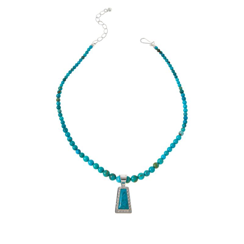 Jay King Sterling Silver Azure Peaks Turquoise Pendant with Necklace