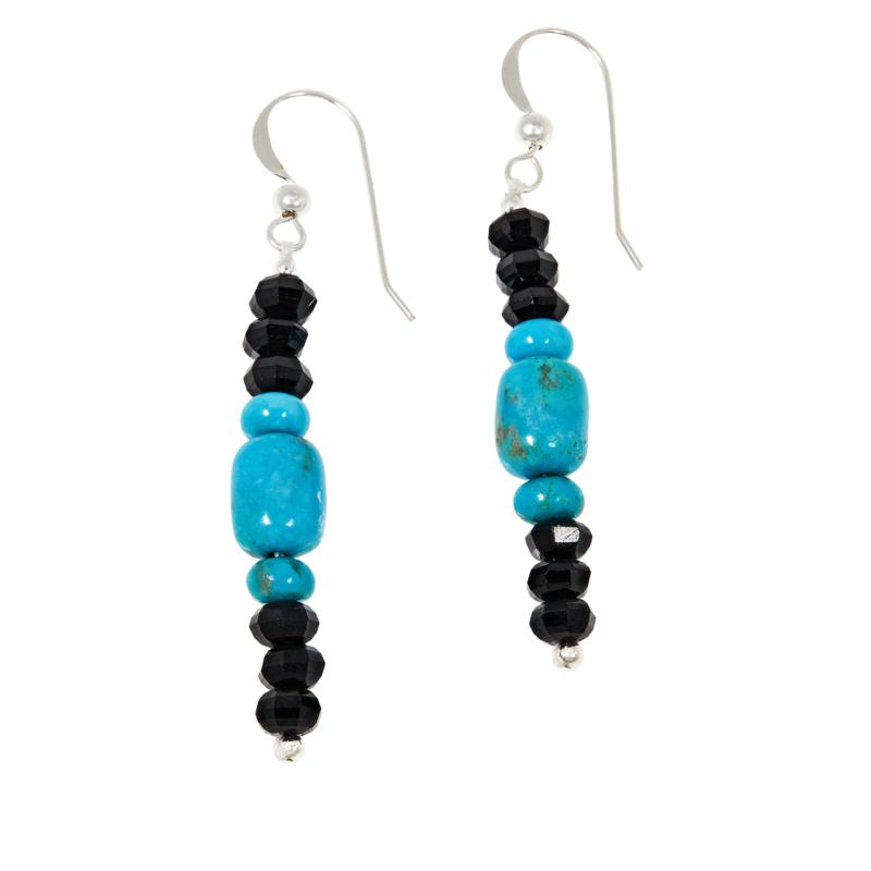 Jay King Sterling Silver Black Spinel and Turquoise Bead Drop Earrings
