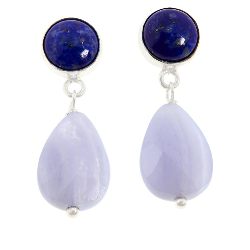 Jay King Sterling Silver Blue Lace Agate and Lapis Earrings