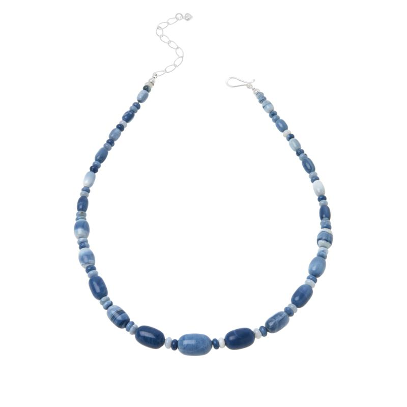 Jay King Sterling Silver Blue Opal Bead Necklace