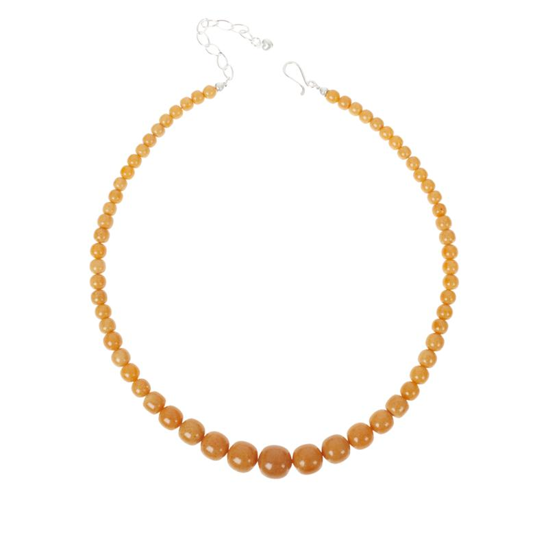 Jay King Sterling Silver Butterscotch Amber Graduated Bead Necklace