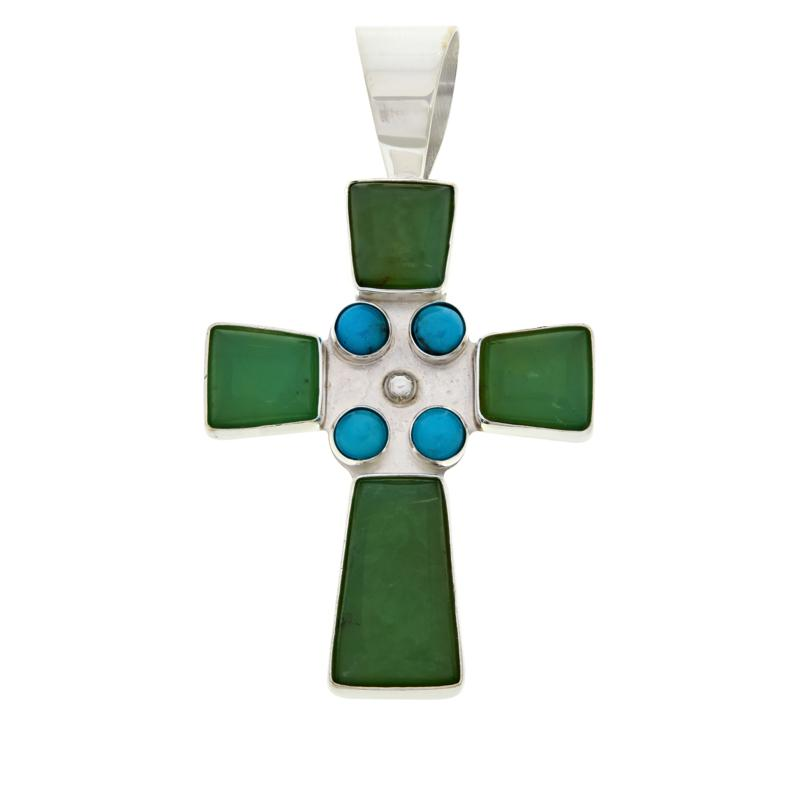 Jay King Sterling Silver Chrysoprase and Turquoise Cross Pendant