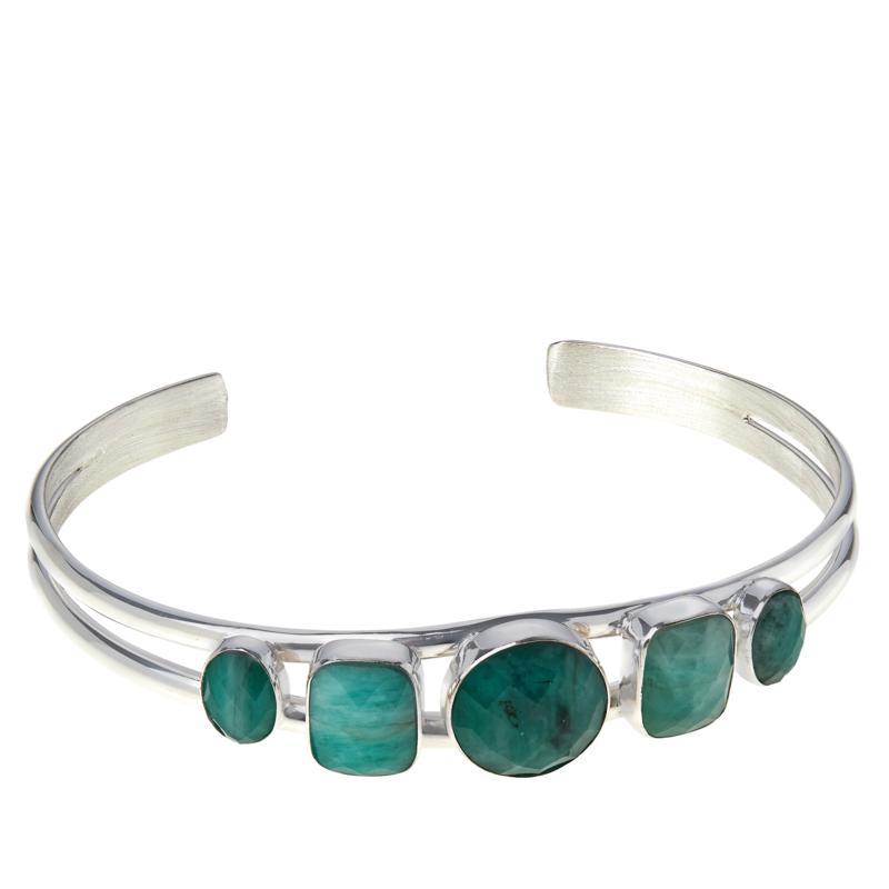 Jay King Sterling Silver Emerald 5-Stone Cuff Bracelet