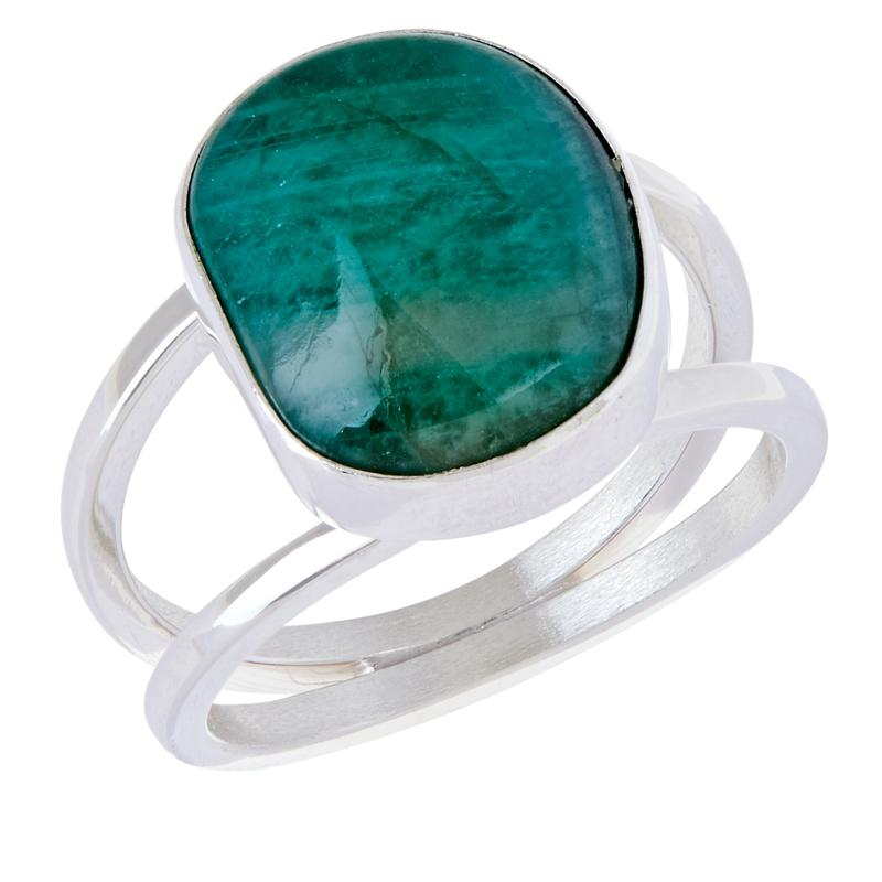 Jay King Sterling Silver Emerald Freeform Ring