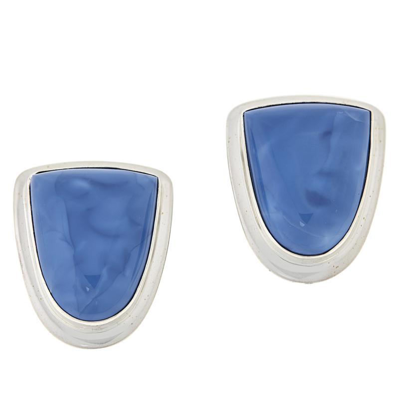 Jay King Sterling Silver Freeform Dream Blue Opal Stud Earrings