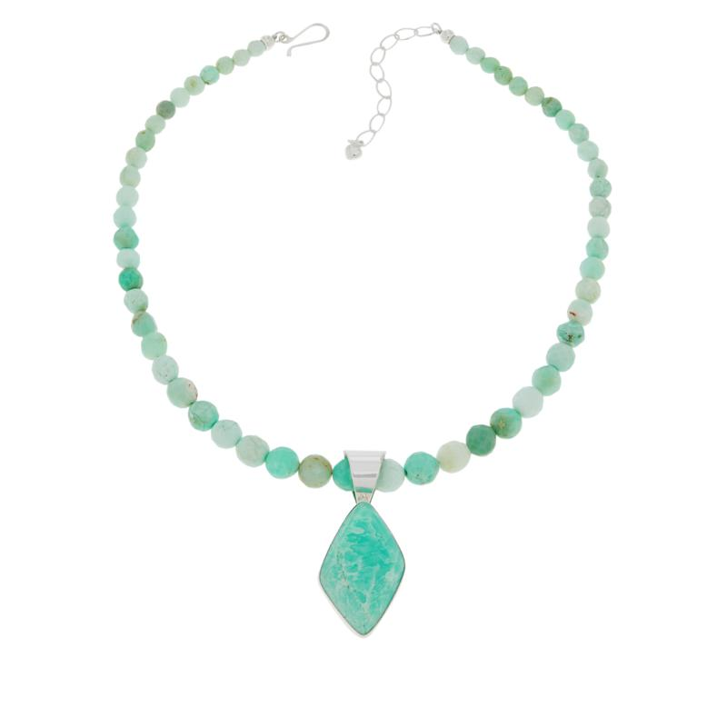 Jay King Sterling Silver Freeform Green Opal Pendant with Necklace