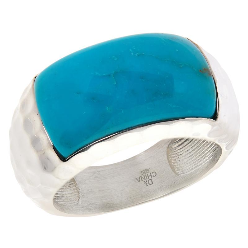 Jay King Sterling Silver Gemstone Hammered Ring