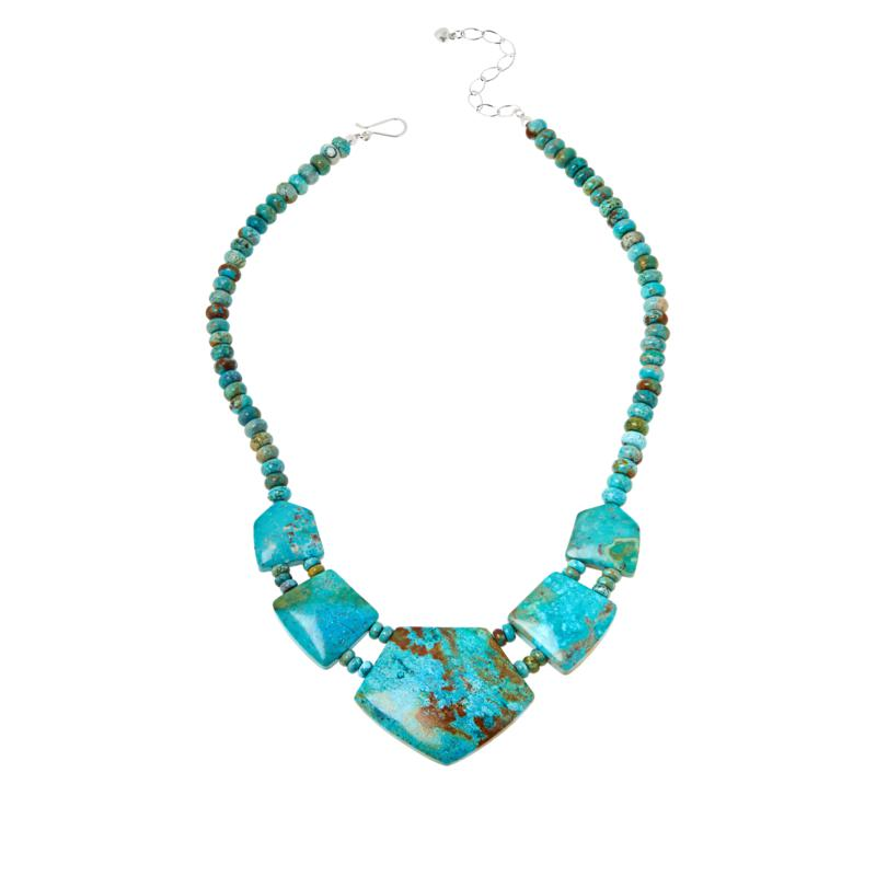 Jay King Sterling Silver Ginkgo Spruce Turquoise Necklace
