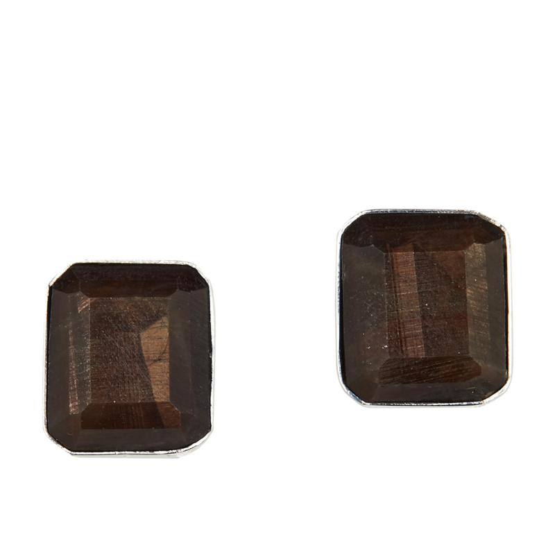 Jay King Sterling Silver Golden Brown Sapphire Stud Earrings