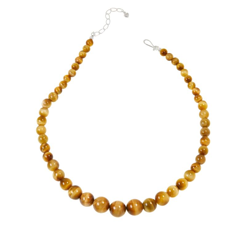 Jay King Sterling Silver Golden Tiger's Eye Bead Necklace