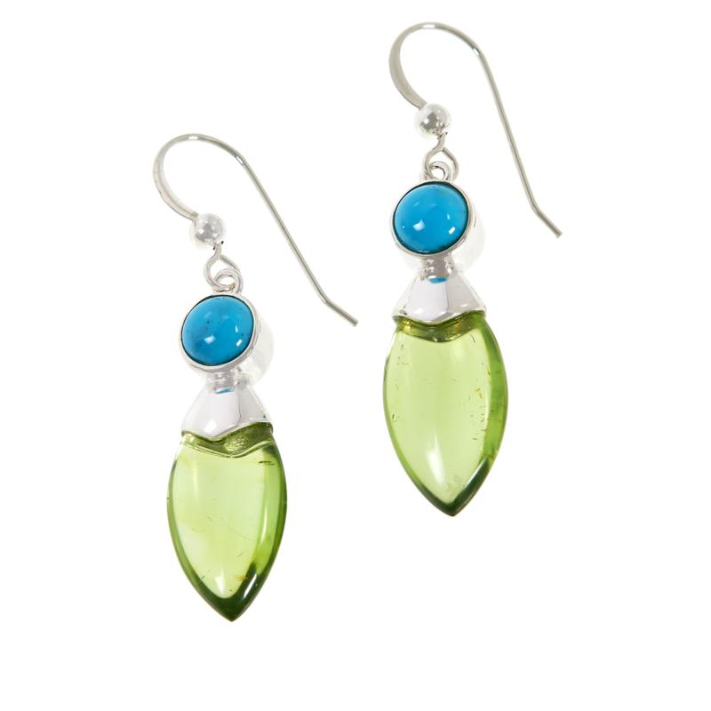 Jay King Sterling Silver Green Amber and Turquoise Drop Earrings