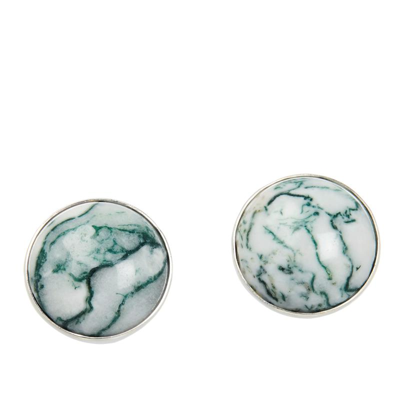 Jay King Sterling Silver Green and White Agate Stud Earrings