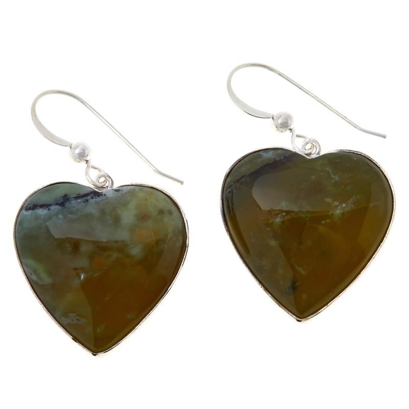Jay King Sterling Silver Green Goddess Opal Heart Drop Earrings