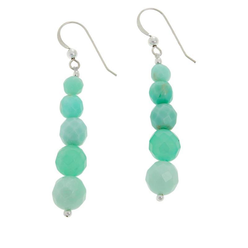 Jay King Sterling Silver Green Opal Drop Earrings