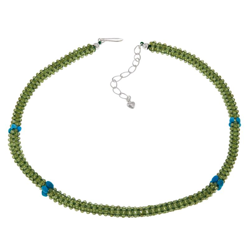 Jay King Sterling Silver Green Peridot and Turquoise Bead Necklace