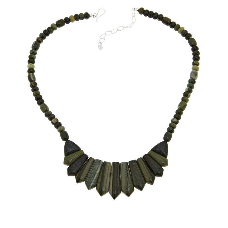 Jay King Sterling Silver Green Polychrome Serpentine Necklace