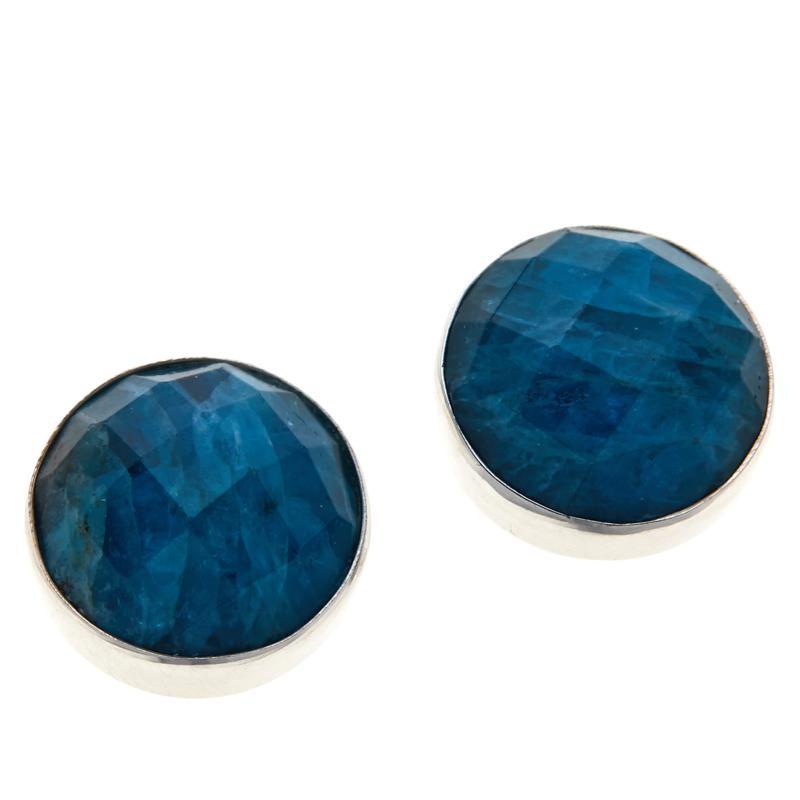 Jay King Sterling Silver Indigo Blue Apatite Button Earrings