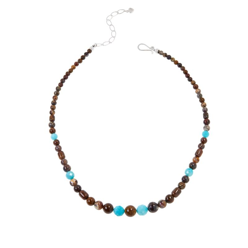 Jay King Sterling Silver Jasper and Amazonite Bead Necklace