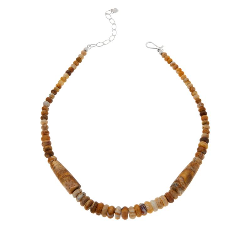 Jay King Sterling Silver Java Lace Agate Bead Necklace
