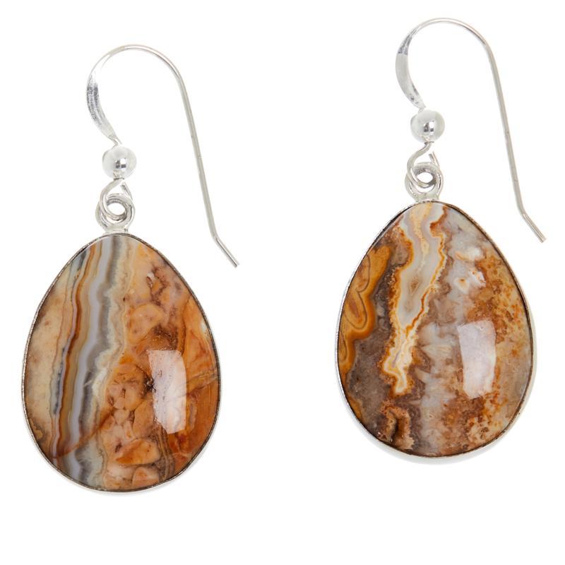 Jay King Sterling Silver Java Lace Agate Pear Drop Earrings