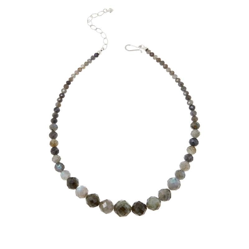 Jay King Sterling Silver Labradorite Graduated Faceted Bead Necklace