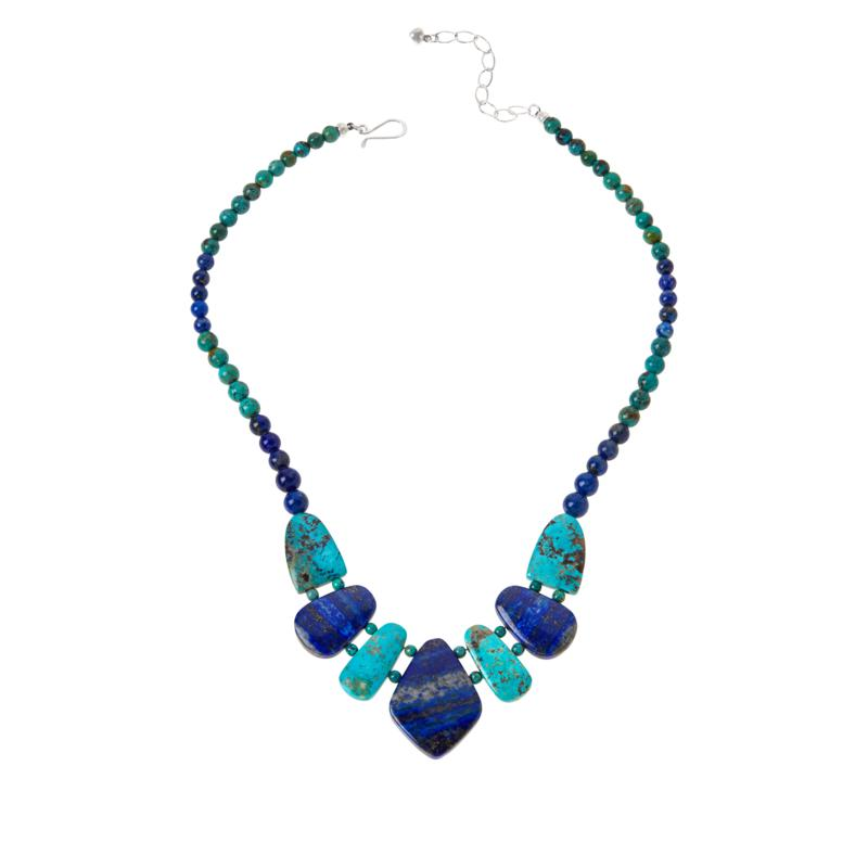 Jay King Sterling Silver Lapis and Turquoise Station Necklace