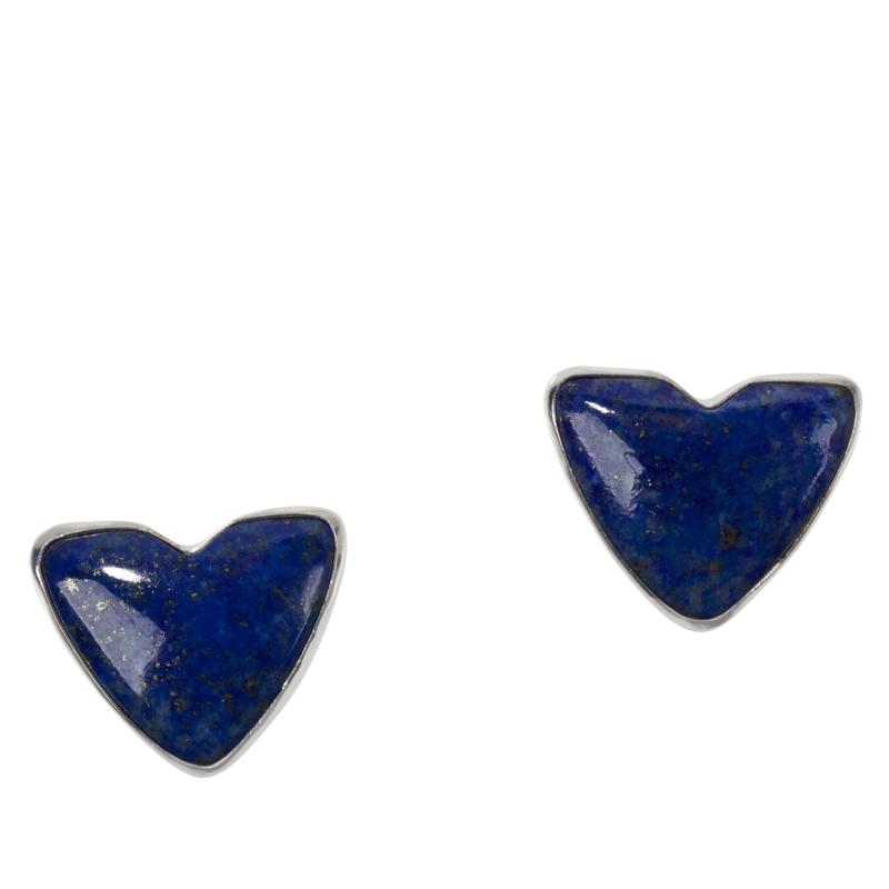 Jay King Sterling Silver Lapis Heart Earrings