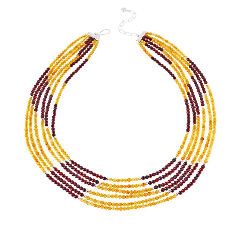 Jay King Sterling Silver Light-Dark Amber Bead 6-Strand Necklace