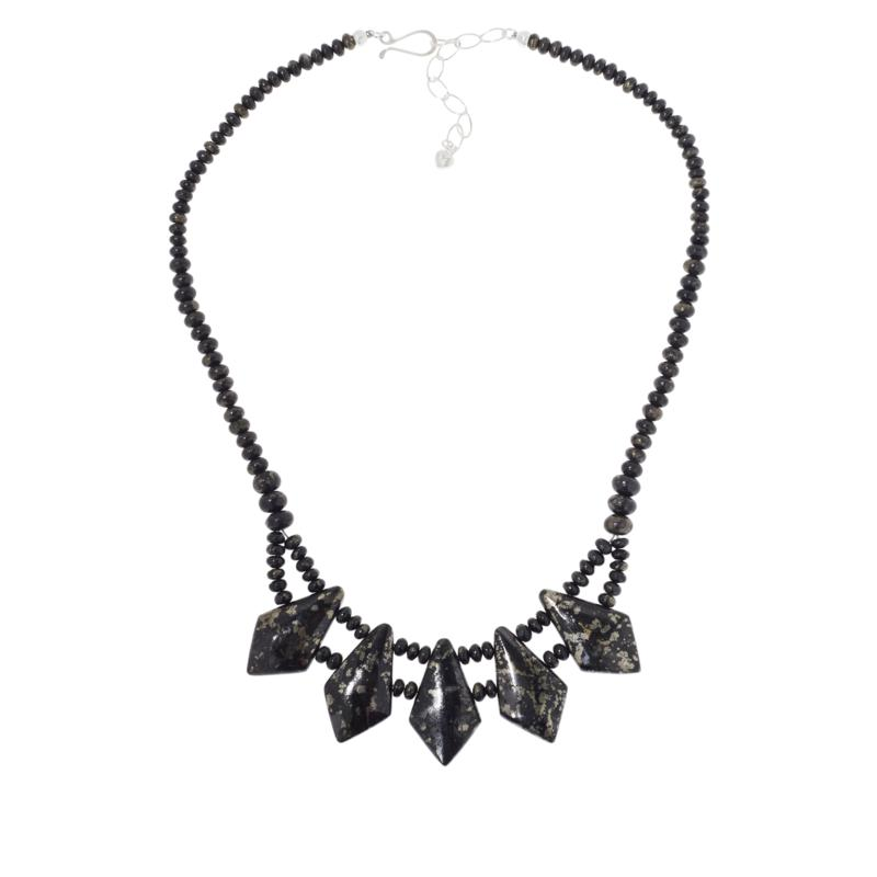 Jay King Sterling Silver Magnetite/Pyrite Beaded Station Necklace