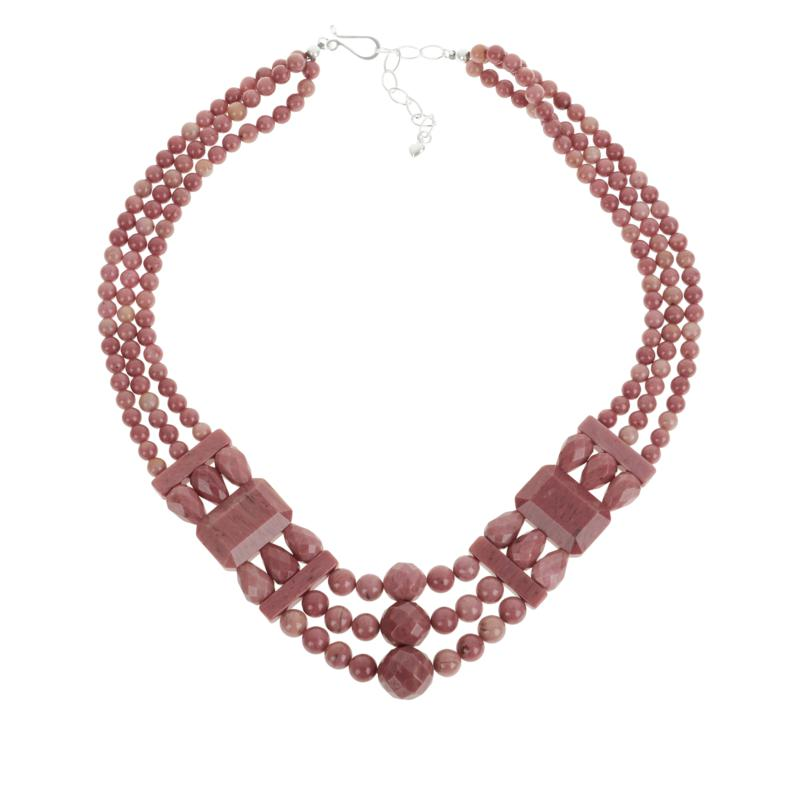 Jay King Sterling Silver Mauvewood Jasper 3-Strand Bead Necklace