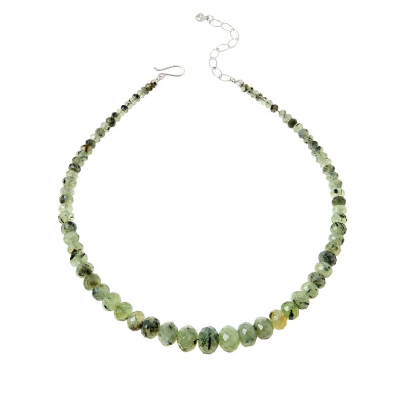 Jay King Sterling Silver Multi-Color Green Prehnite Bead Necklace