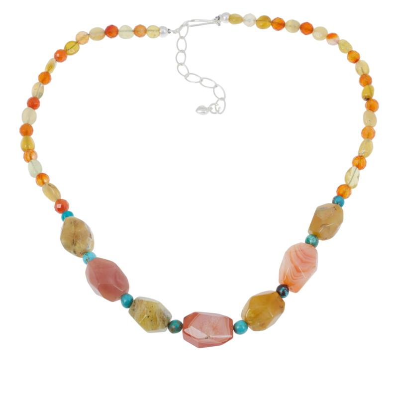 Jay King Sterling Silver Multi-Color Multi-Gemstone Bead Necklace