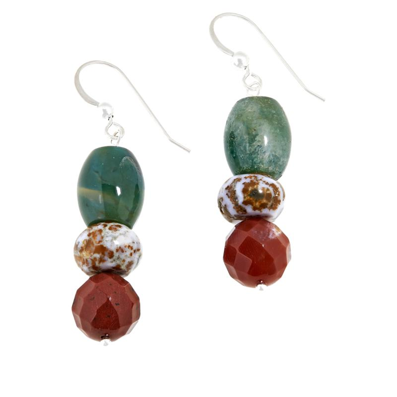 Jay King Sterling Silver Multi-Color Orbicular Chalcedony Earrings